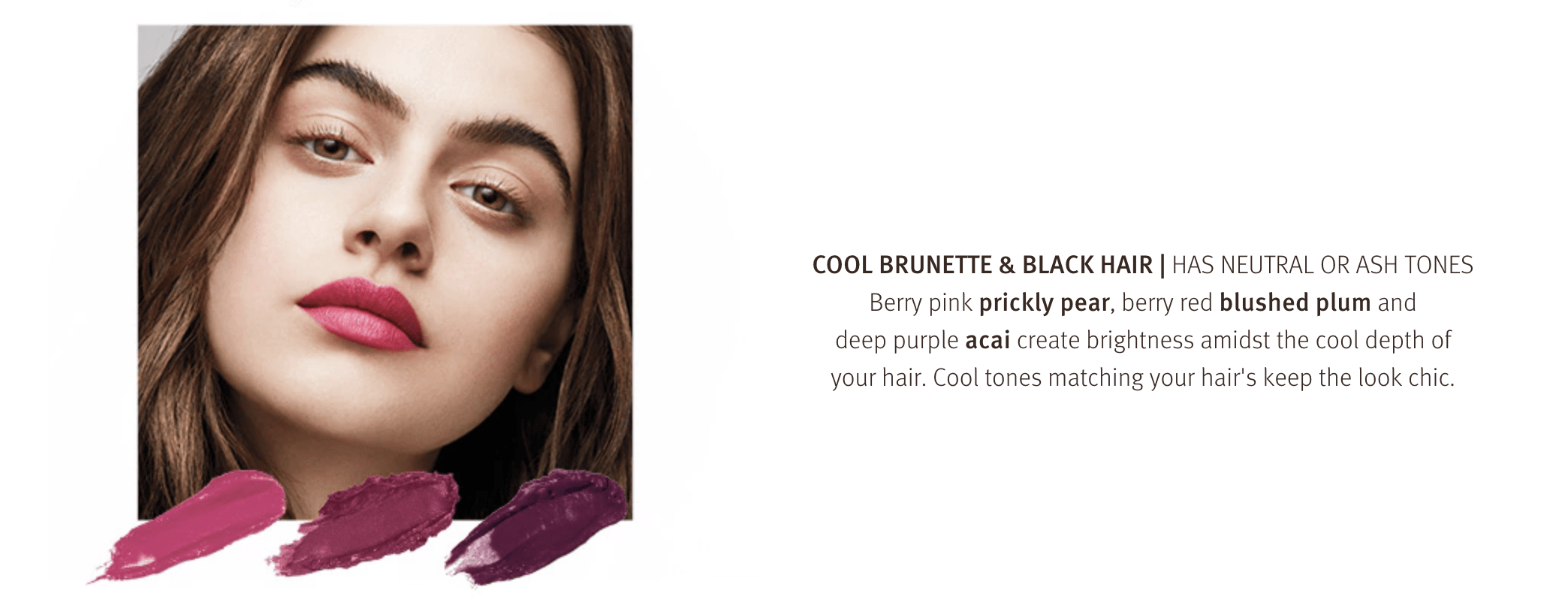 Cool brunette and black hair has neutral or ash tones. find your perfect lip colour at Zucci!