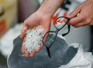 Photo of recycled plastic used in Dresden optical glasses frames